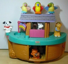 "Fisher Price 2002 Mattel Noah's Ark with 8 animals + flag 9"" x 13"" x 7"" - $24.75"