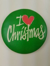 1981 Round Hallmark Holiday Christmas Pin Green I Heart Christmas Red - $9.65