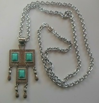 Vintage Signed Sarah Coventry Long Silver-tone Blue Stone Pendant Necklace - $18.99