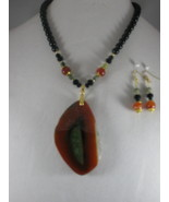 NEW Orange Onyx Druzy Geode Agate Slice Pendant Necklace with Earrings - $40.00