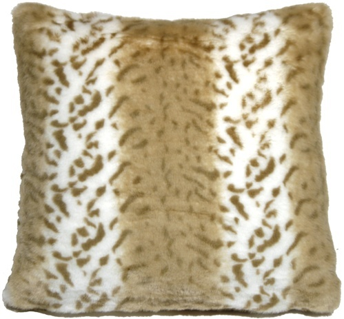 Pillow Decor - Tawny Lynx Faux Fur 20x20 Throw Pillow