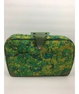 Vintage Suitcase Made Japan Small Green Blue Floral Retro Hippie Mid Cen... - $34.64