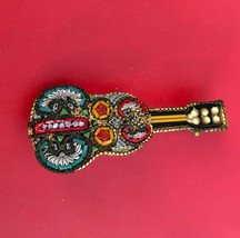 Handmade Mosaic Guitar Broach/Pin Made In Italy Vintage/Antique EUC  - $12.58