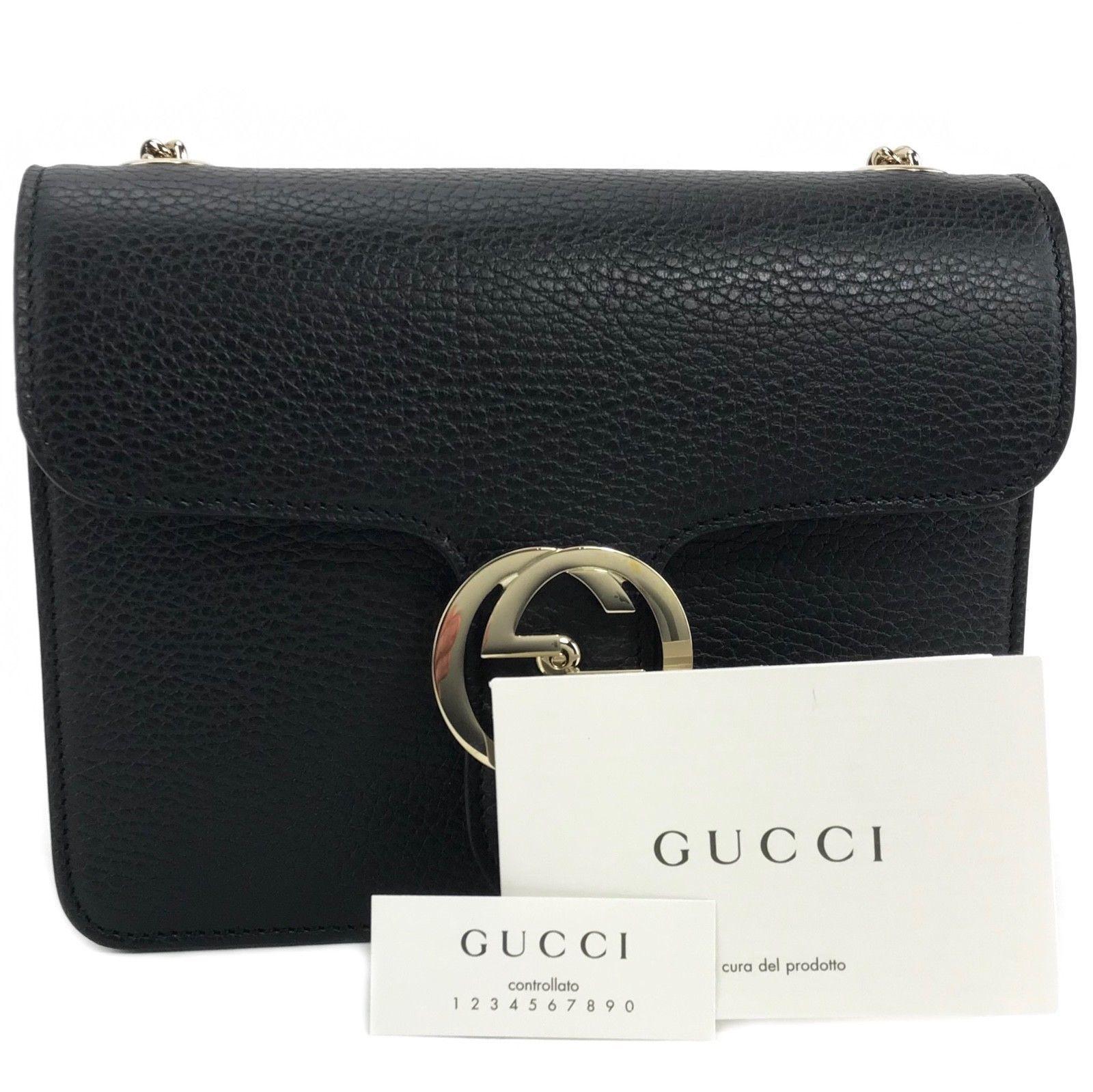 4b10b2167782c9 NEW GUCCI 510304 Interlocking Black Leather Chain Cross Body Bag