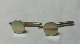 """Vintage 1970's Gold Tone Button Cufflinks 3/8"""" Round Excellent Condition - $14.84"""