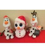 Disney Beanie Babies Boos Collection TY Scoop Olaf&Olaf  Christmas Lot - $30.00
