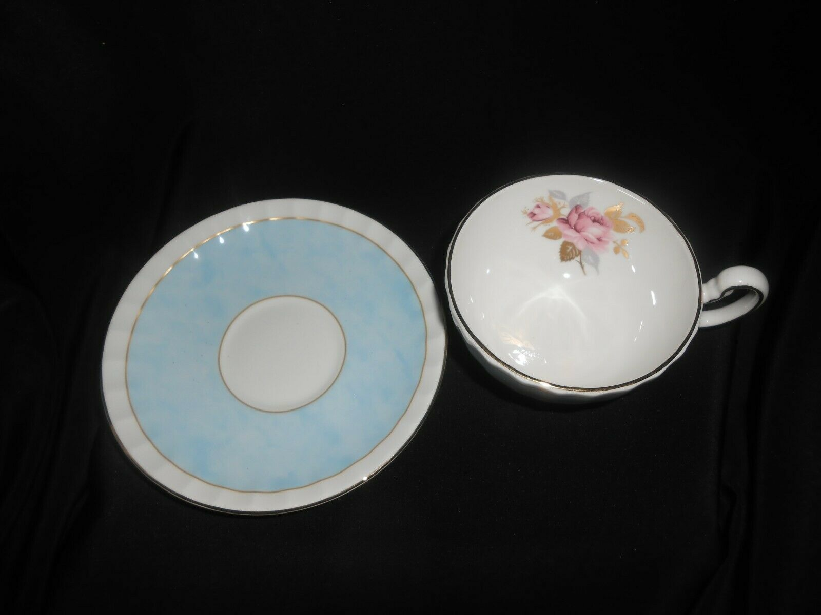 Aynsley Tea Trio Pale Blue Pink Cabbage Rose 3 Piece Set Vintage China image 5