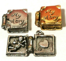MY STORY BOOK FINE PEWTER CHARM OPENS - 15mm L x 16mm W x 5mm D
