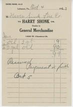 1923 Harry Shonk Billhead Receipt General Merchandise Lebanon PA Neversi... - $5.00