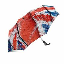 InterestPrint Wooden Flag of United Kingdom Windproof Compact One Hand Auto Open - $25.73