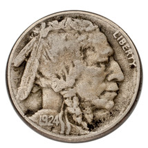 1924-S Five Cent Buffalo Nickel 5C (Very Good, VG Condition) - $39.59