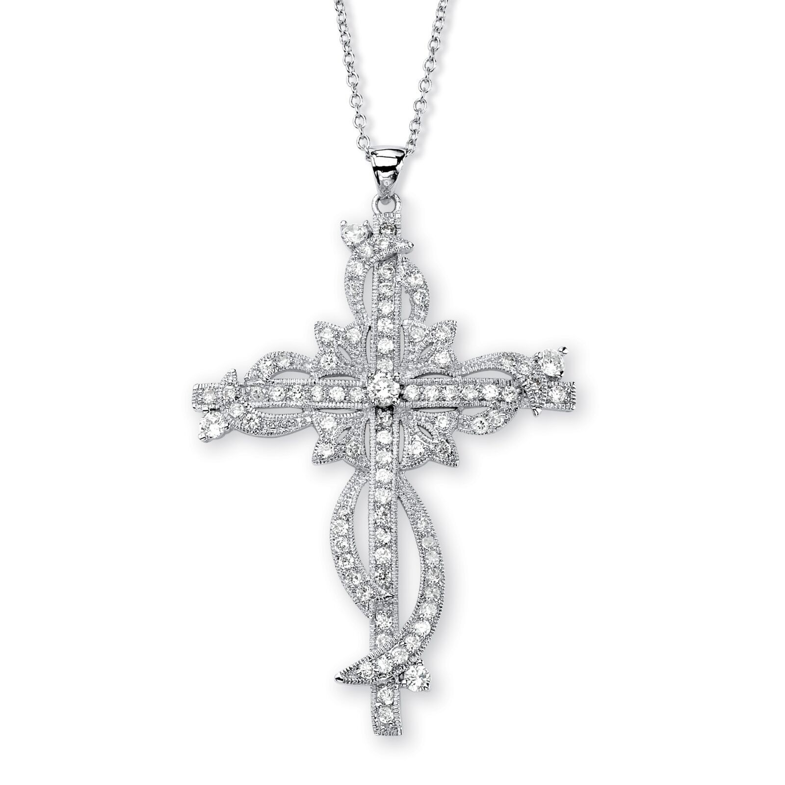 "3.12 TCW CZ Cross Pendant Necklace in Silvertone 18"" image 1"