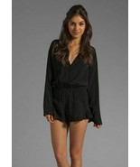 Stone Cold Fox Black Rayon Crepe Sexy Love Romper Jumper Playsuit 2 S - $142.49