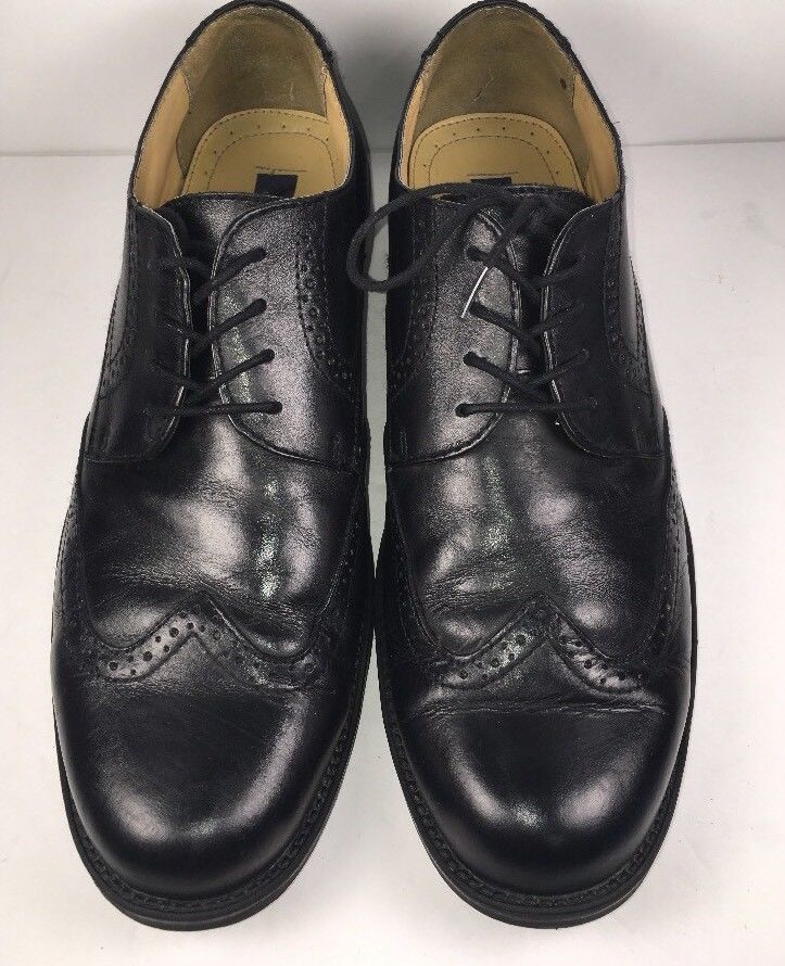 f723e503c ... BASS Men s Oxfords S-10 M Winston Black Leather Wing Tip Brogue Dress  Shoes ...