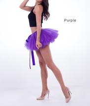 WOMEN MINI TUTU Skirt Drawstring Waist Solid Color Mini Petticoats Ballet Skirts image 2