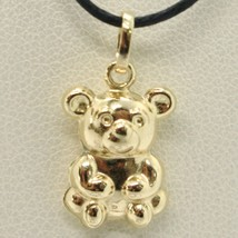 18K YELLOW GOLD ROUNDED BEAR TEDDY BEAR PENDANT CHARM 20 MM SMOOTH MADE IN ITALY image 1
