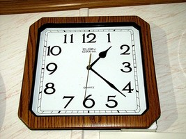 """Elgin Clock Co. Simulated Wood Quartz Wall Clock 12"""" Square Xlg Arial Numbers - $24.99"""