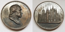 1818 Italian Milan Cathedral Archbishop Architectural Bronze Medal by F ... - $99.99