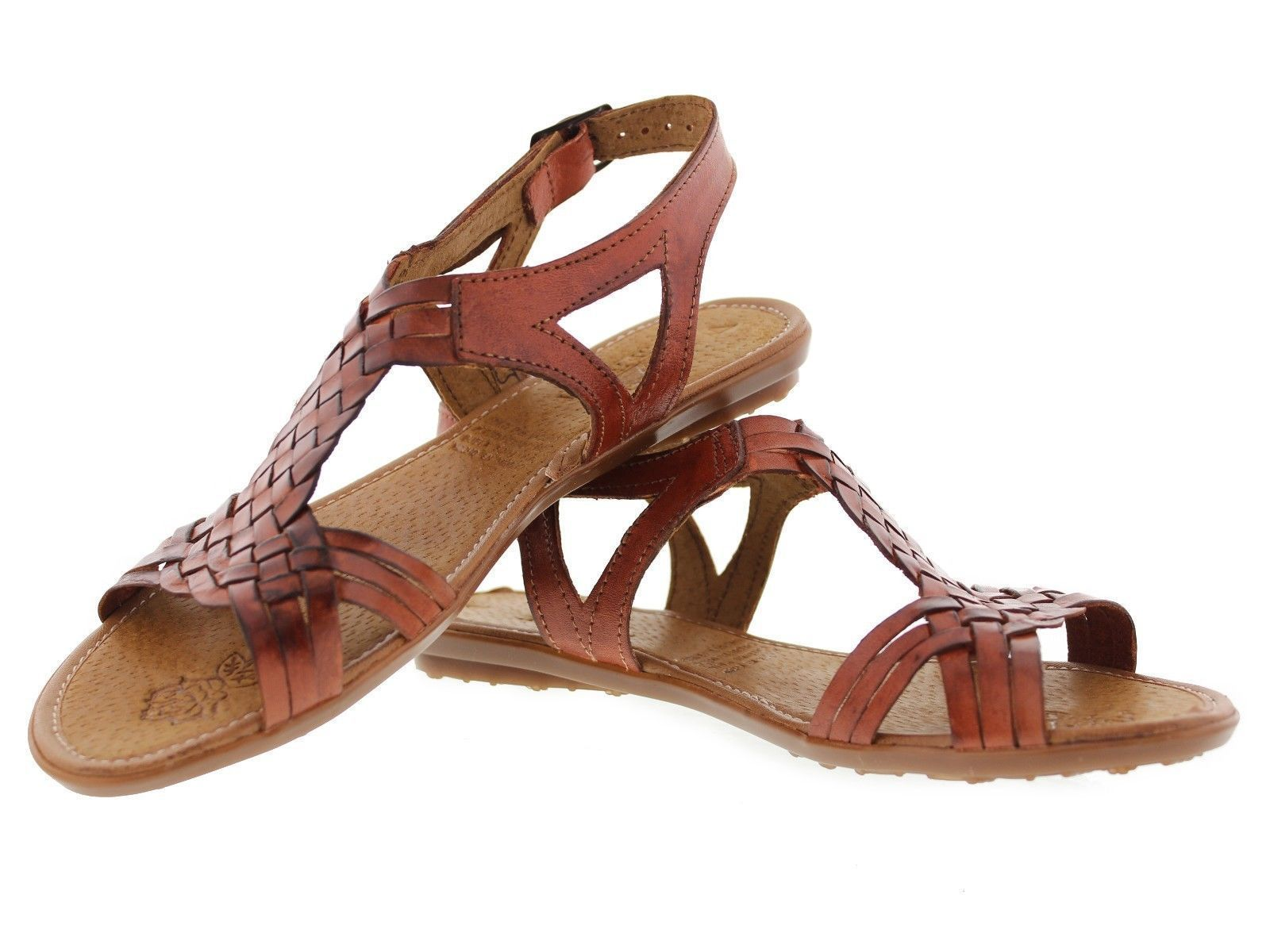 Womens 231strappy Style All Real Leather Brown Huarache Sandal Ankle Boho