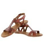 Womens 231strappy Style All Real Leather Brown Huarache Sandal Ankle Boho - $46.37 CAD
