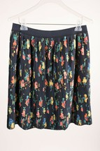 Merona Women's Skirt Large Navy Blue Floral Midi Elastic Waist Career - £11.30 GBP