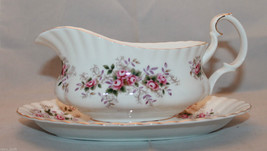 Royal Albert Bone China Lavender Rose Gravy Boat Underplate England Flow... - $65.11