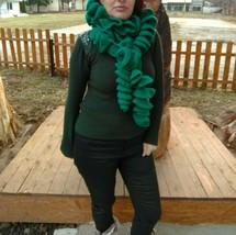 Ruffled Shawl, Hand Crochet Ruffled Cascade Shawl With Flower Brooch - $53.83