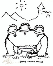 Three-Headed Ape Ogre. Original Signed Cartoon by Walter Moore 23J13 - $9.52