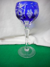 Vintage Bohemian Cobalt Cut to Clear Grape Wine Stem - $84.65