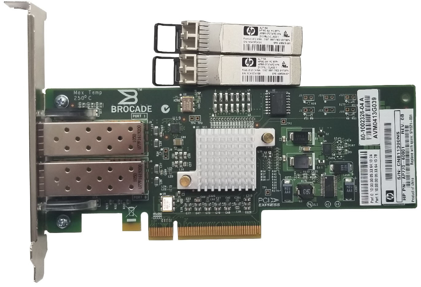 HP AP770 - 60001 DualPort Host Bus Adapter PCIe x8 With Two 8GB SFP+ Bin:10