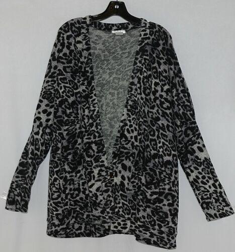 ZigZag Stripe Brand Black Gray Wild Peek A Boo Button Womens Cardigan Size XL