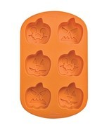 Wilton Jack O'Lantern Orange 6 Cavity Silicone Mold Halloween Pumpkin - £7.66 GBP