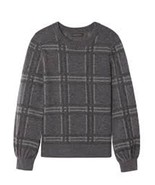 Banana Republic Heather Gray Wool-blend Plaid Crew Sweater, size L, NWT - $85.00