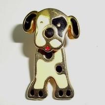 VTG Dog Brooch Dalmatian Pin Gold Tone Black Off White Enamel w/ SPINNIN... - $12.24