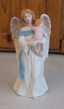 Vintage Home Interiors Guardian Angel With Baby Porcelain Figurine # 1434 HOMCO - $15.83