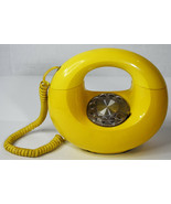 """Vintage 8"""" Western Electric Yellow Round Donut Rotary Phone Amazing Retr... - $237.49"""