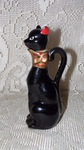 VINTAGE RELCO JAPAN BLACK CAT CLAY POTTERY JUG PITCHER JAR CORK STOPPER - $14.80