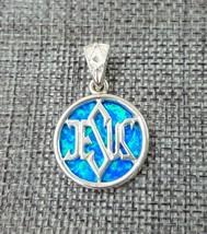 Blue Opal Sterling Silver Pendant Messianic Star Of David Jesus Israel J... - $32.63