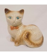 "Cat Kitten Figurine Vintage Brown Tan 5""  Ceramic Made Brazil Bow Tie Blue Eyes - $14.99"