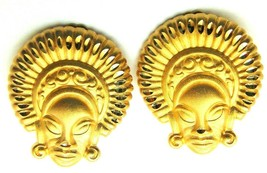 Vintage Tribal Mask Clip Earrings African Polynesian Diamond Cut USA - $18.95