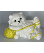 Persian Cat Kitten Playing With yellow Yarn PRECIOUS! Hand painted - $10.84