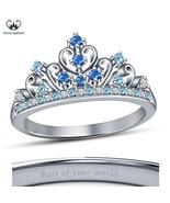 14k White Gold Plated 925 Silver Women's Disney Princess Cinderella Crow... - £41.44 GBP