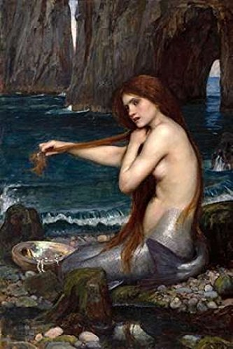 Primary image for A Mermaid Poster 24x36 John William Waterhouse Combing Hair Art Print Mermaids