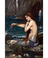 A Mermaid Poster 24x36 John William Waterhouse Combing Hair Art Print Me... - $59.99