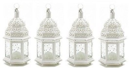 "White Moroccan Candle Lantern 12"" tall(Set of Four) Wedding Party Suppli... - $47.50"