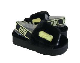 UGG FLUFF YEAH DISCO SLIDE BLACK / POLLEN SANDAL US 6 / EU 37 / UK 4 - $92.57