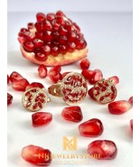Gold-plated Silver Earrings With Pomegranate stone, Gold & Silver Earrings, Perf - $80.00