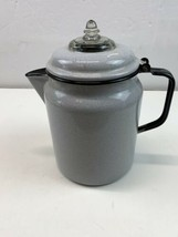 Vintage Gray Porcelain Enamel Stove Top Coffee Pot Percolator Complete - $23.33