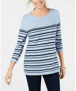 Karen Scott Women's Blue Heather Combo Striped Cotton Lace-Up Sweater Si... - $12.02