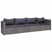 vidaXL 4 Piece Garden Sofa Set with Cushions Gray Poly Rattan Outdoor Seat - $326.99